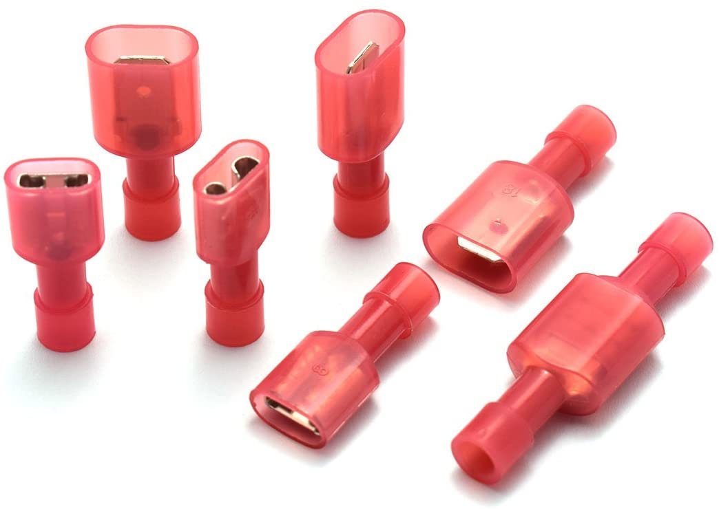 DZS Elec 30 Sets A.W.G. 22-16 10A Fully Insulated Wire Connector Quick Disconnects Electrical Wiring Female and Male Spade Nylon Wire Crimp Terminal