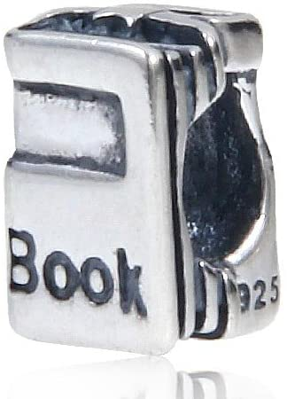 Book Charm Solid 925 Sterling Silver Charms for European Bracelet