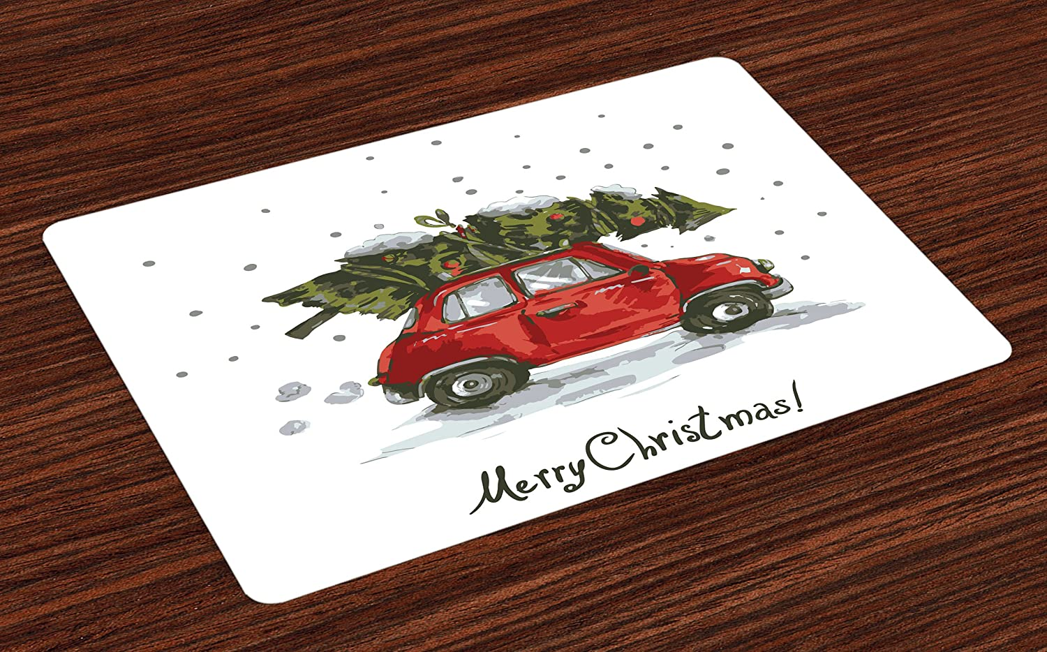 Ambesonne Christmas Place Mats Set of 4, Red Retro Style Car Xmas Tree Vintage Family Style Illustration Snowy Winter Art, Washable Fabric Placemats for Dining Table, Standard Size, Red Green