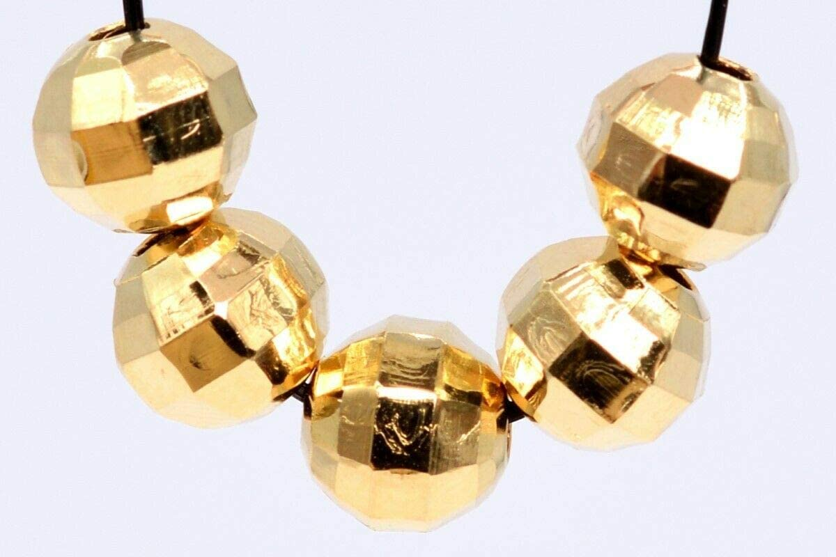 Toyensnow - 8MM Rose Gold Spacer Beads Faceted Round Loose Beads Hole 2MM (10 Beads)