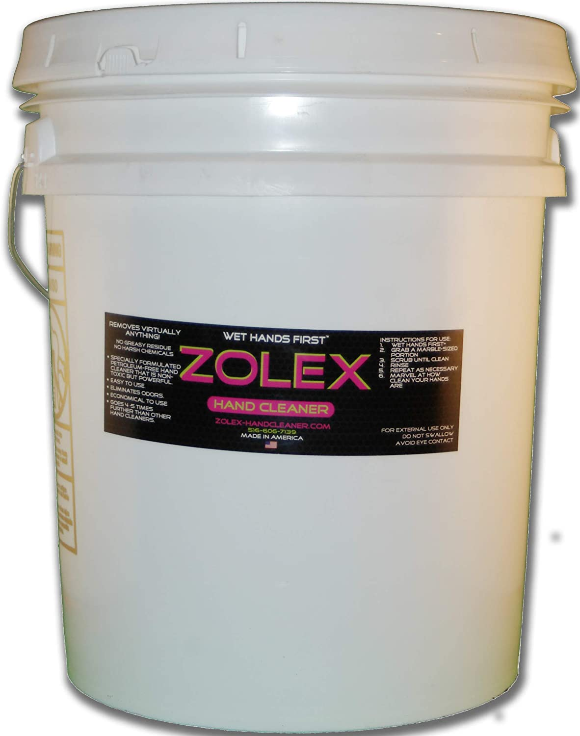 Zolex Water Activated Hand Cleaner for Working Hands| Stain Remover for Heavy Duty Workers | Grease Remover for Auto Mechanics - Non-Toxic Petroleum Free | Commercial-Sized Pail (25 lb)