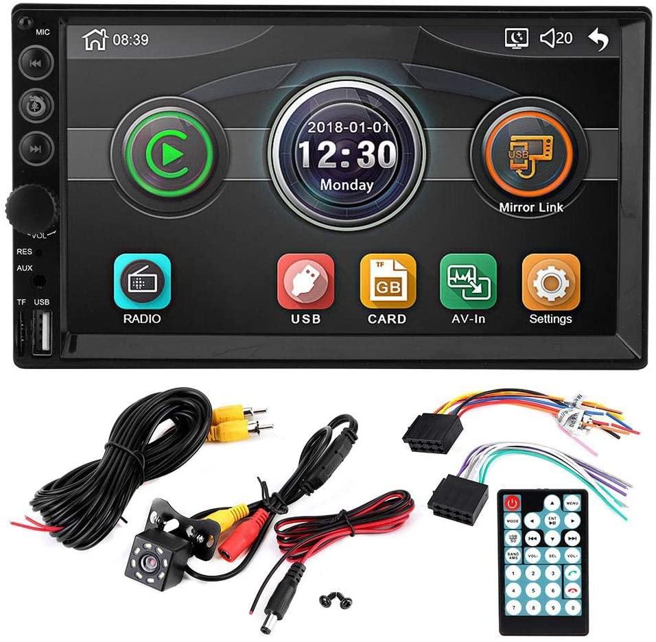 KIMISS Car MP5 Player, 7in 2Din HD Car Multimedia MP5-7061 Player Bluetooth USB/TF 8 LED Waterproof Camera Remote Control