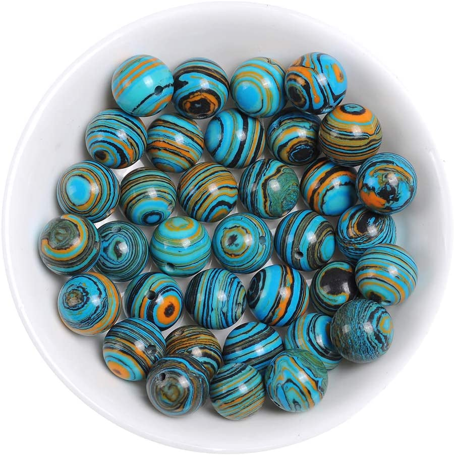 6MM Handmade Blue Malachite Beads for Jewelry Making Rainbow Beads for Bracelets Necklaces Round Loose Beads