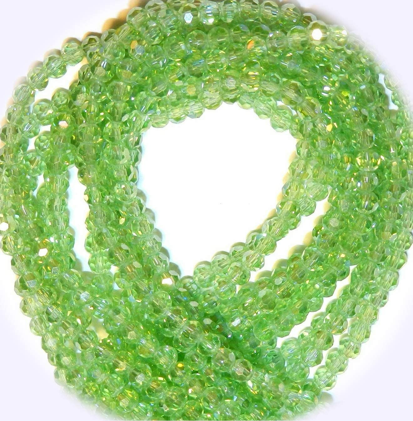 New Peridot Green AB 4mm Faceted Round Crystal Glass Jewelry-Making Beads 14-inch DIY Craft Supplies for Handmade Bracelet Necklace