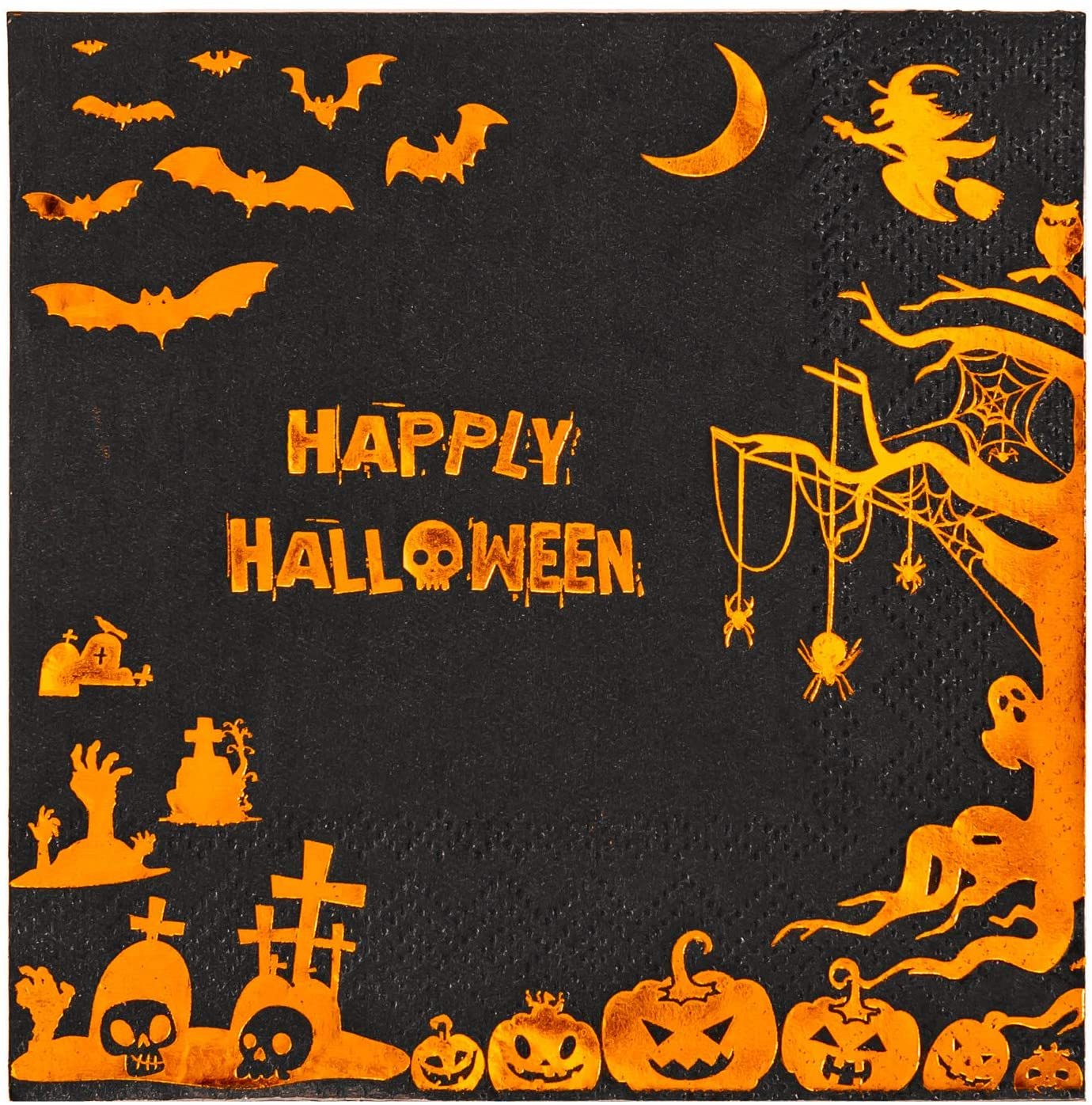 Crisky Happy Halloween Disposable Cocktail Napkins for Halloween Dinner Party Decorations, Orange Gold Foil, 50 Pcs, 3-Ply