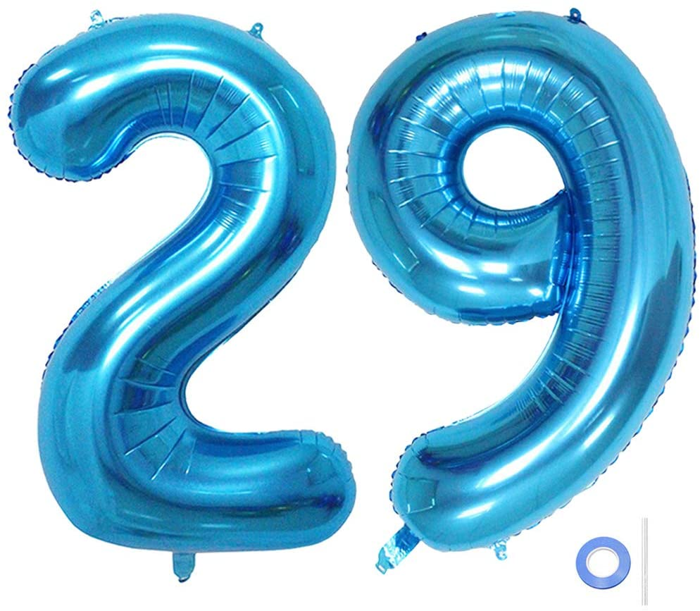 Ceqiny 40 Inches 29th Number Balloon Mylar Balloon Giant Balloon Alphabet Foil Balloon for Birthday Party Wedding Bridal Shower Engagement Photo Shoot Anniversary Decoration, Blue Digit 29 Balloon