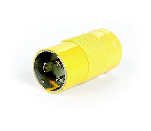 Woodhead 3765N Safeway Plug, Industrial Duty, Locking Blade, 3 Poles, 4 Wires, Nylon, Yellow, 50A Current, 600VAC/250VDC Voltage
