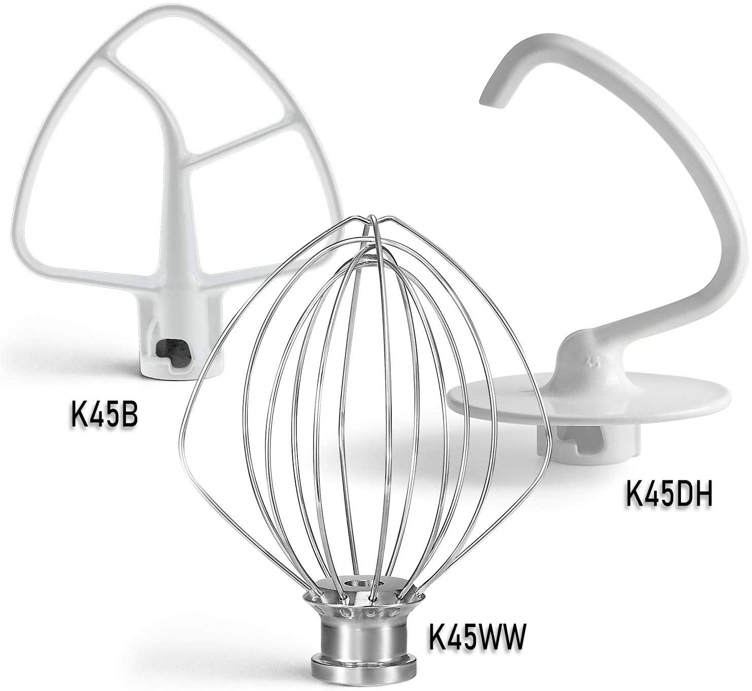 Primeswift K45DH dough hook,K45B flex edge beater and K45WW wire whip 3 Pieces 5 Quart Mixer Replacement