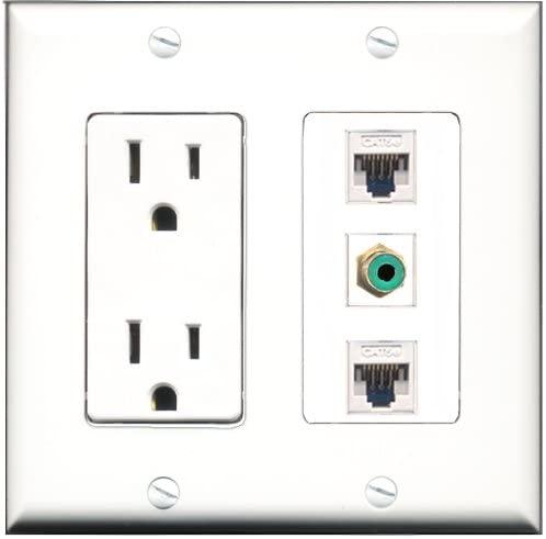 RiteAV - 15 Amp Power Outlet 1 Port RCA Green 2 Port Cat5e Ethernet White Decorative Wall Plate
