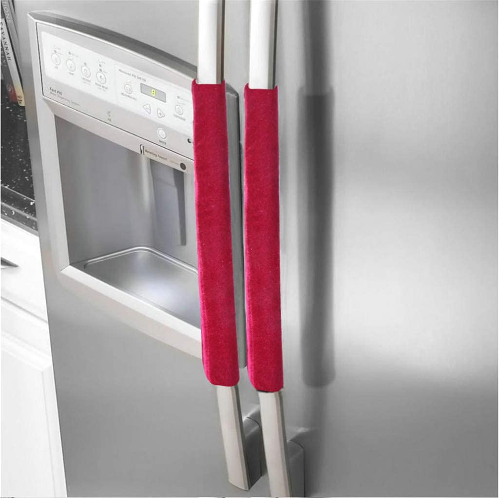 Refrigerator Door Handle Covers, Fridge Microwave Dishwasher Door Cloth Protector, Protective Electrical Kitchen Appliances Gloves, Catches Drips Smudges Dust Covers (Red)
