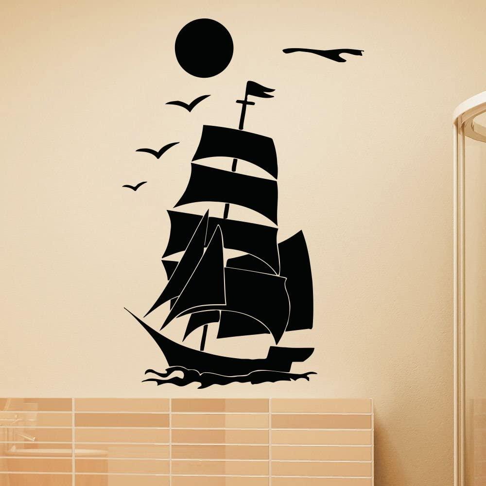 Wall Vinyl Decals Ship Ocean Sea Sunset Kids Nursery Baby Room Bathroom Decal Sticker Home Decor Art Mural Z690
