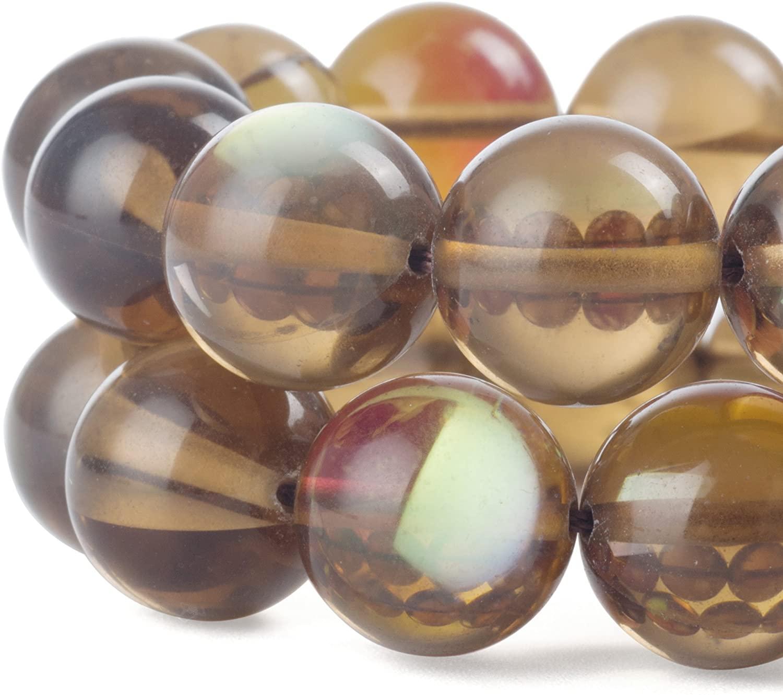 RUBYCARoundMoonstoneCrystalGlassBeadsAuraIridescentfor Jewelry Making(1Strand,6mm,Brown)