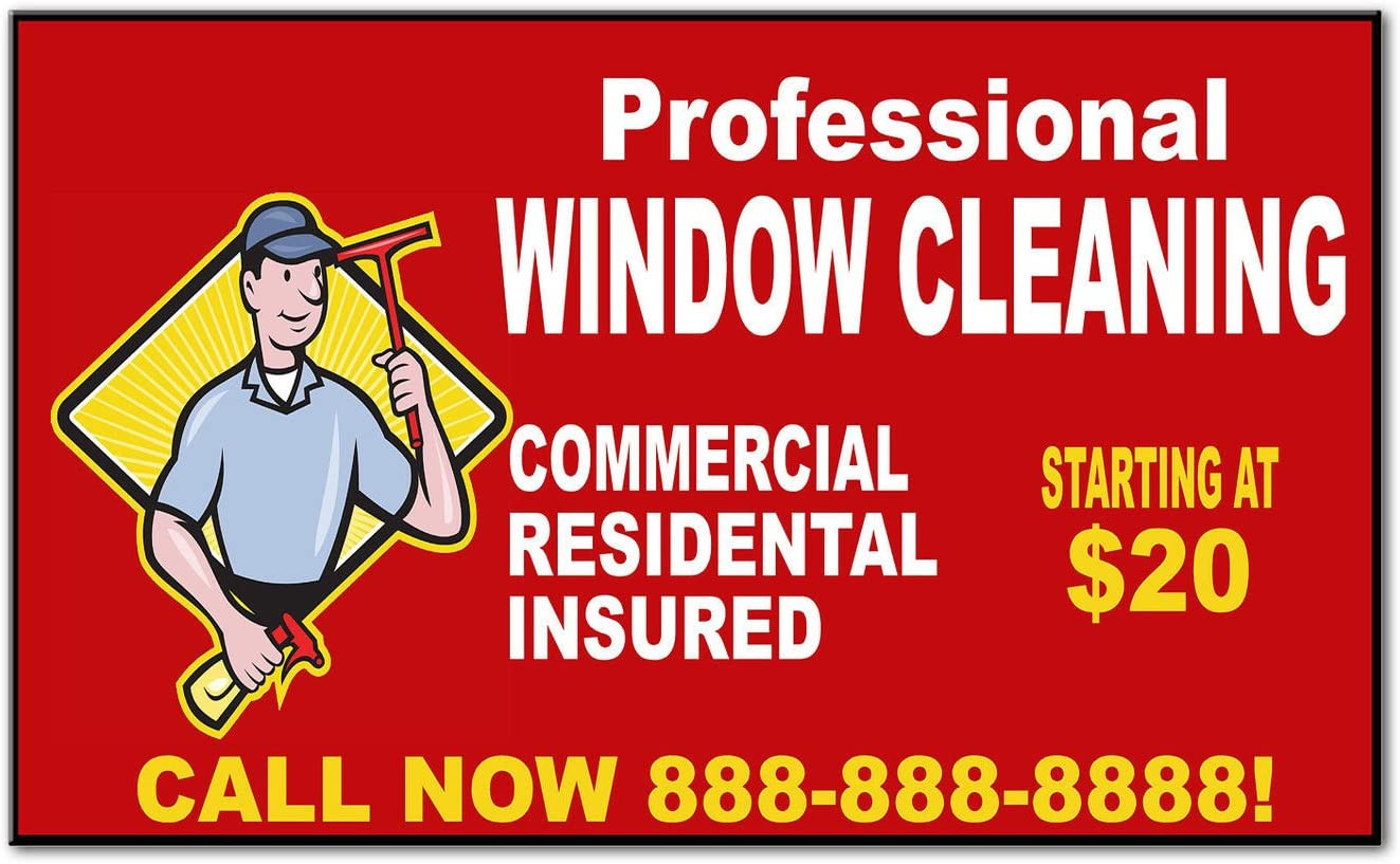 Professional Window Cleaning Custom Phone Message Car Magnet Magnetic Sign-QTY 2