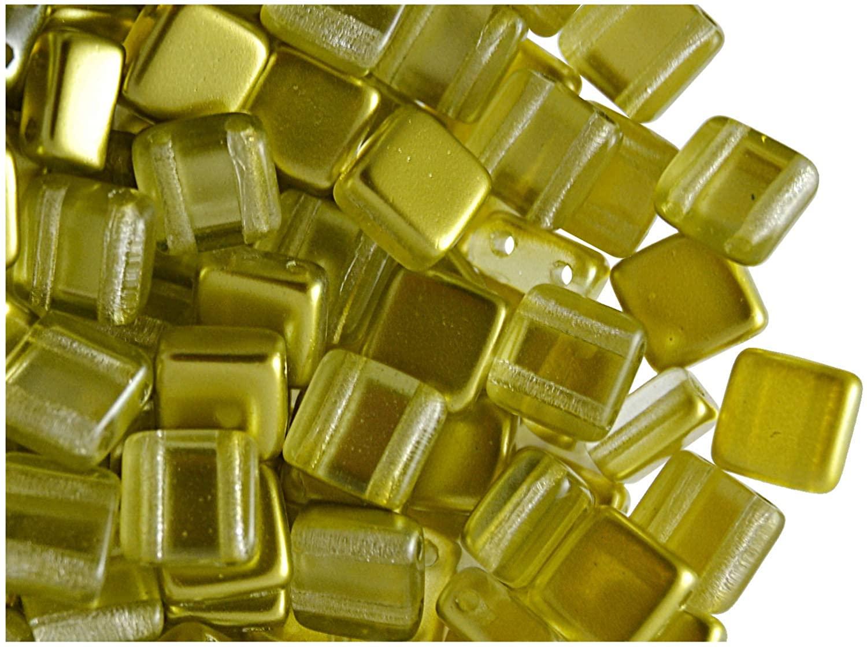 40pcs Czech Glass Two-Hole Tile Beads ESTRELA 6x6x3.2mm Gold