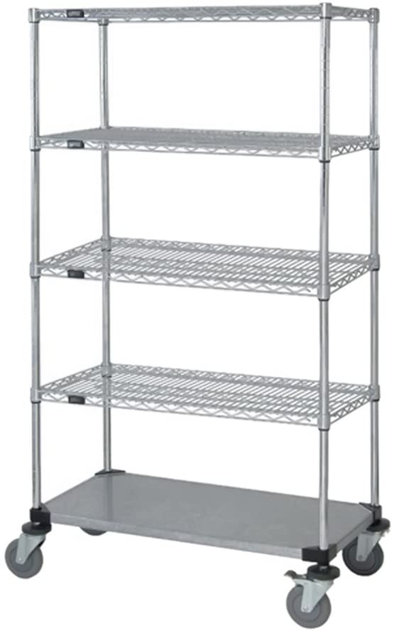 Quantum 4 Wire / 1 Solid Shelf Mobile Cart 74