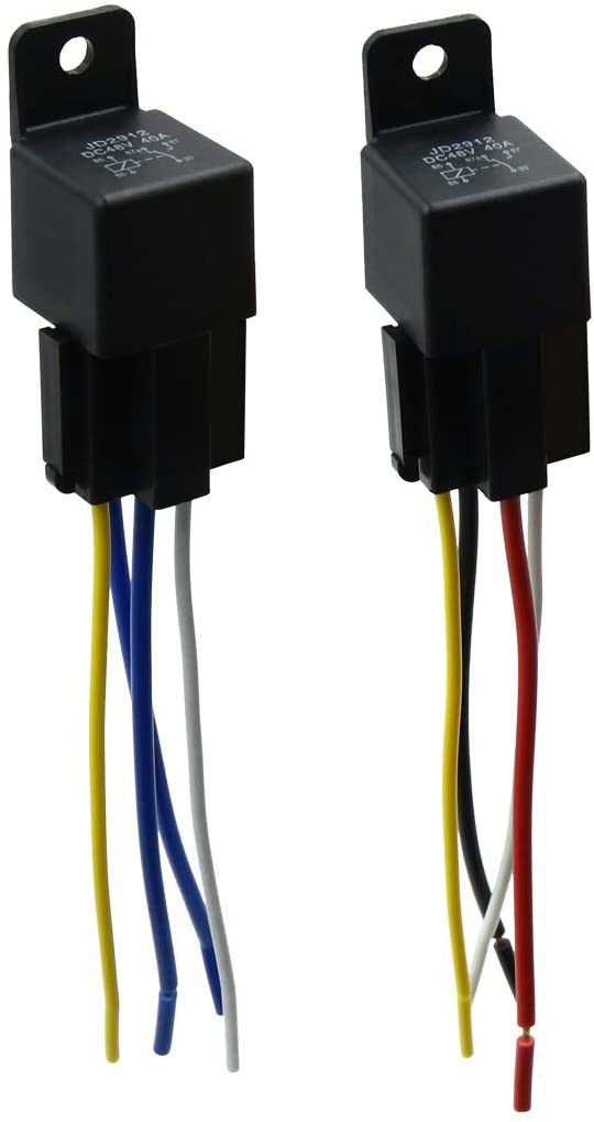 uxcell DC 48V 40A SPST Automotive Car Relay 4 Pin 4 Wires w/Harness Socket 2pcs