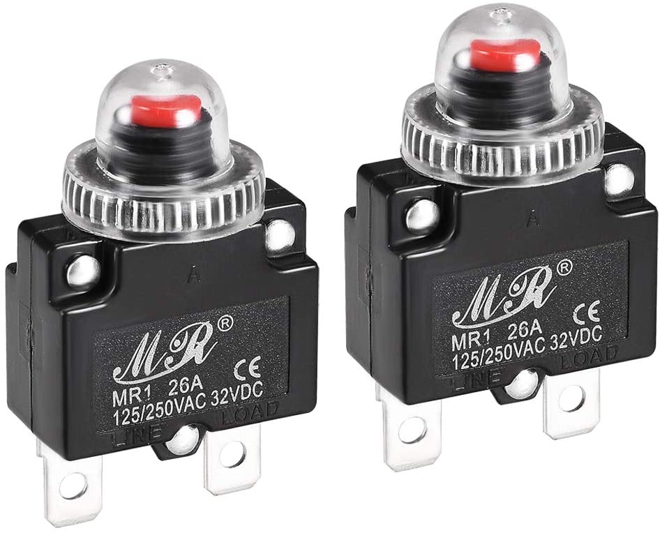 uxcell Thermal Circuit Breakers 26A 125/250V AC 32V DC Push Button Reset Overload Protector Switch with Waterproof Cap 2 Pcs