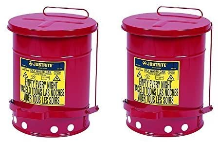 Justrite J09100 09100; Galvanized-steel; Safety cans; For Oily waste; Red; Foot Operated cover; Raised, ventilated Bottom; Self-closing; UL listed; FM approved; Capacity: 6 gal. (23L) (Pack of 2)
