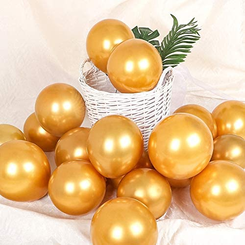 5 inch Gold Metal Balloons Quality Latex Balloons Helium Balloons Party Decorations Supplies Pack of 50