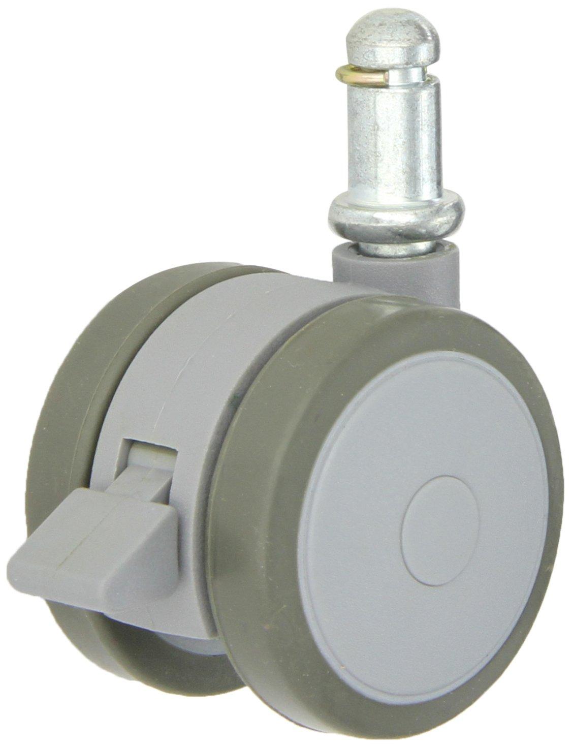 Shepherd Softech Series 50mm Diameter Soft Tread Unhooded Twin Thermoplastic Elastomer Wheel Caster with Brake, 7/16