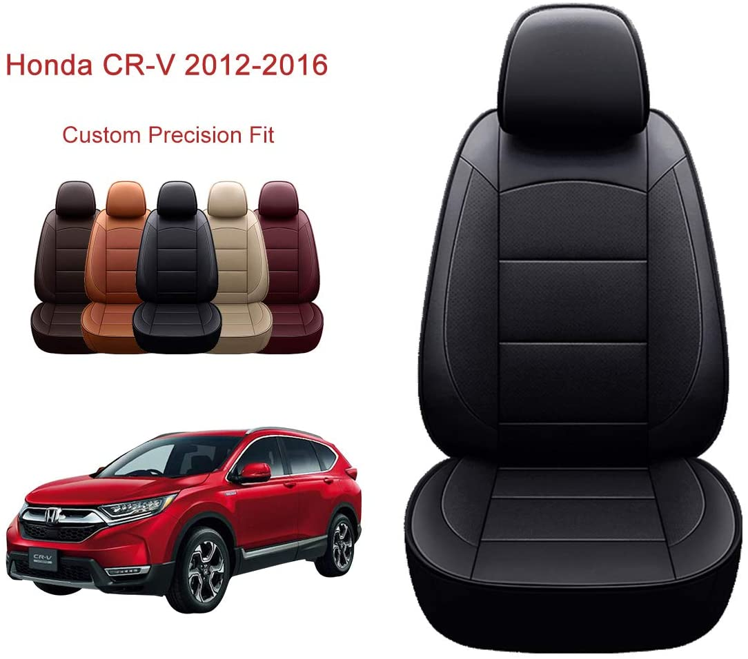 OASIS AUTO 2012-2016 CRV Custom Fit PU Leather Seat Cover Compatible with 2012-2013-2014-2015-2016 Honda CR-V (2012-2016 CRV, Black)