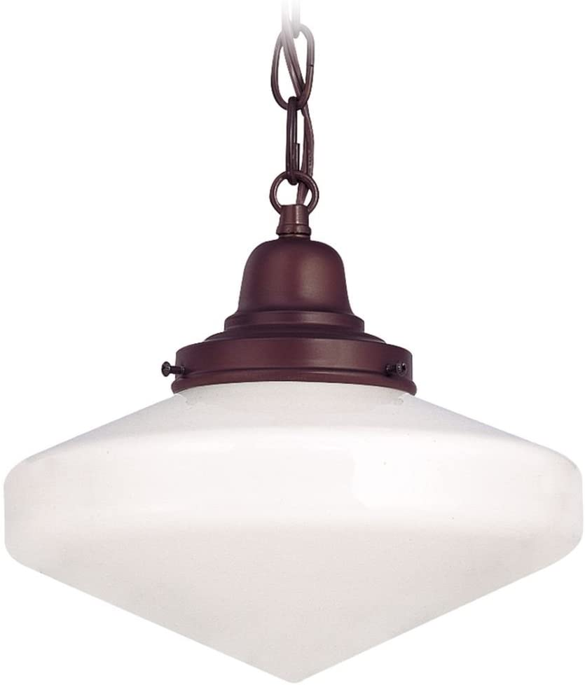 Bronze 10 Inch Hanging Schoolhouse Mini Pendant Light with Neuvelle Bronze Finished Chain and Glenfair Milk Glass Shade