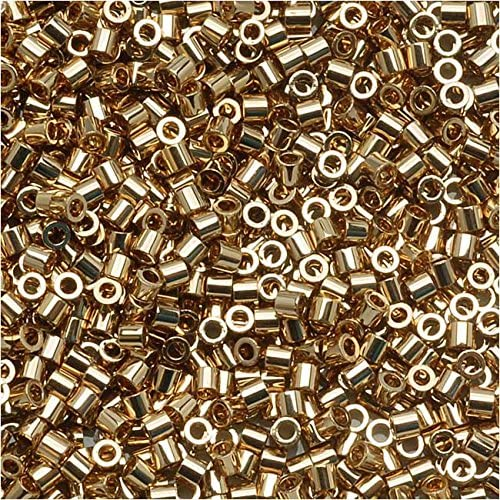 Miyuki Delica 15/0 Cylinder Seed Beads - 24kt Gold Light Plated - DBS0034 5 grams