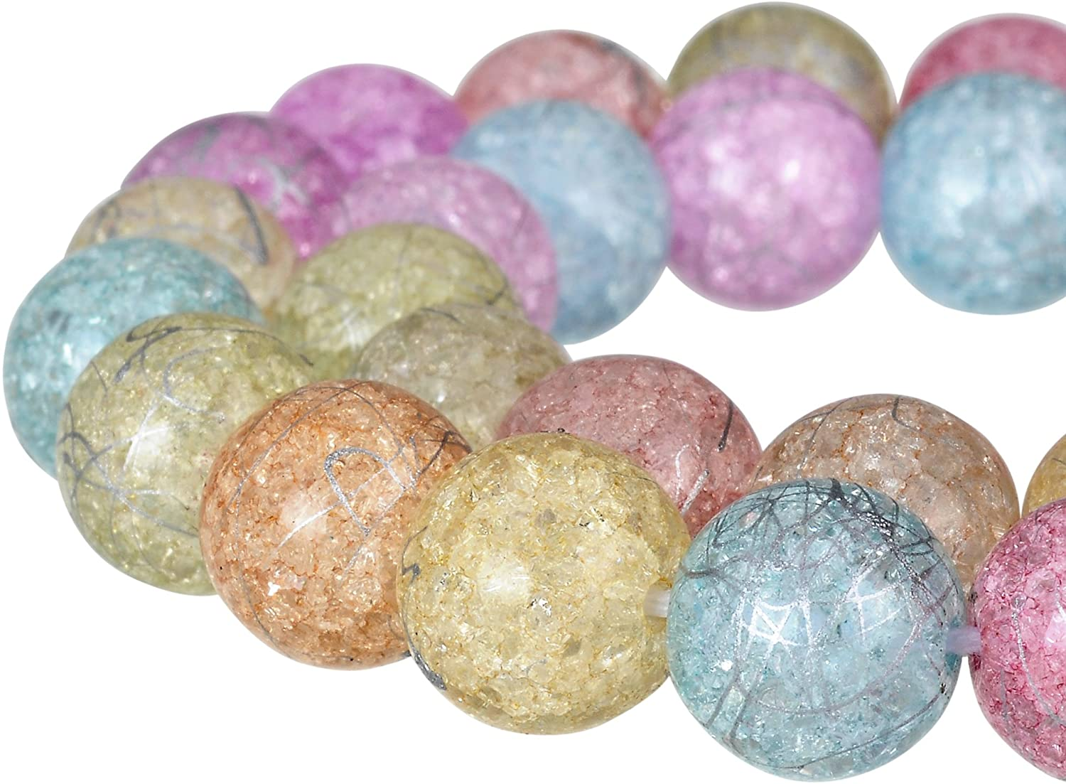 RUBYCA Round Crackle Druk Czech Crystal Glass Splash Beads for Jewelry Making 8mm Strand (Mix Color)