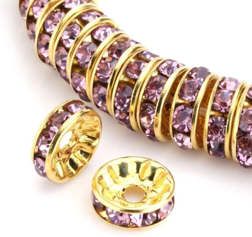 100pcs 8mm AAA+ Quality 14k Gold Plated Copper Brass Rondelle Spacer Round Loose Beads Light Amethyst Austrian Crystal Rhinestone for Jewelry Crafting Making CF4-811
