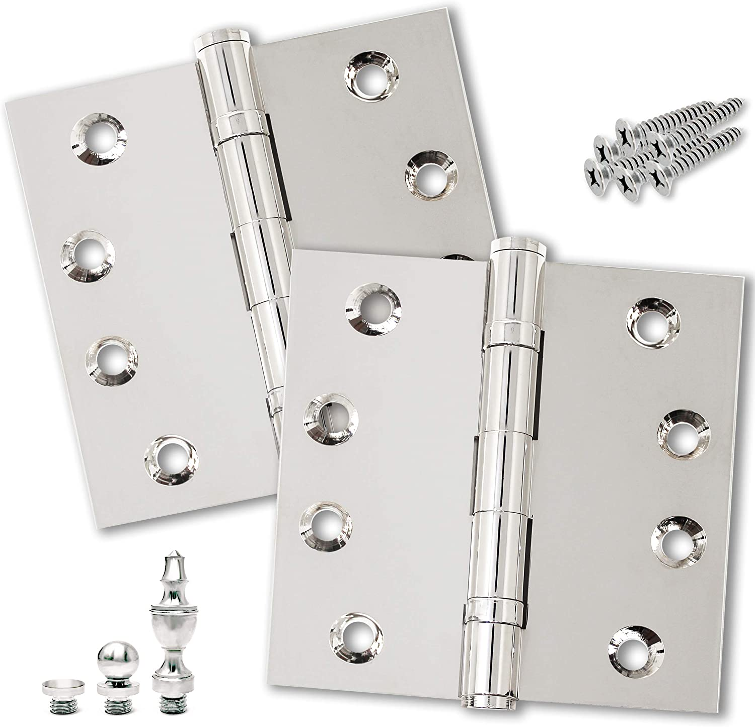 Finsbury Hardware Solid Brass Door Hinge Heavy Duty Ball Bearing Shiny Silver 4x4 Inch with Decorative Screw-on Tips Included - Set of 2 Hinges (Polished Nickel)