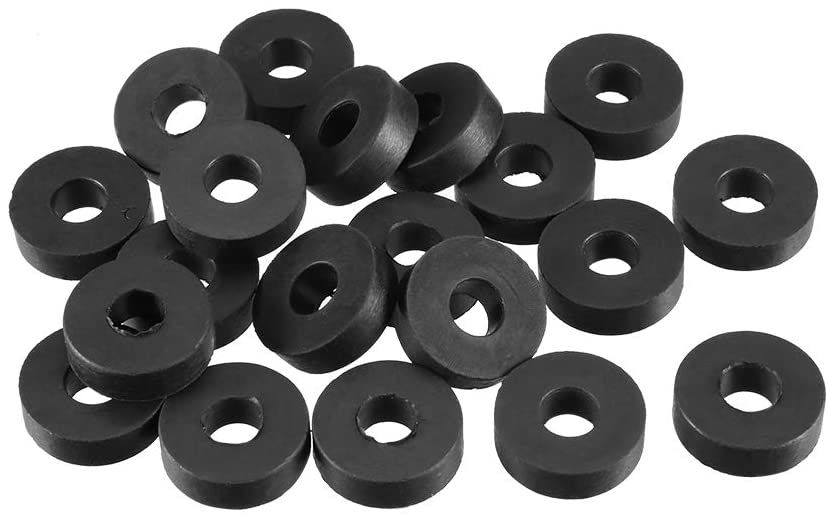 uxcell Rubber Flat Washers 13mm OD 5mm ID 4mm Thickness for Faucet Pipe Water Hose, Pack of 20