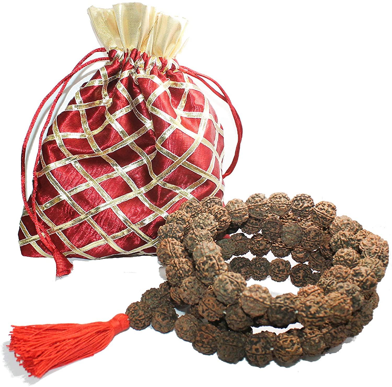 IndianStore4All Certified Nepali 5 Mukhi (Face, Panchmukhi) Bigger Size Rudraksha Japa Mala (Necklaces) 108 +1 Sumeru Good for Puja,Yoga, Meditation.