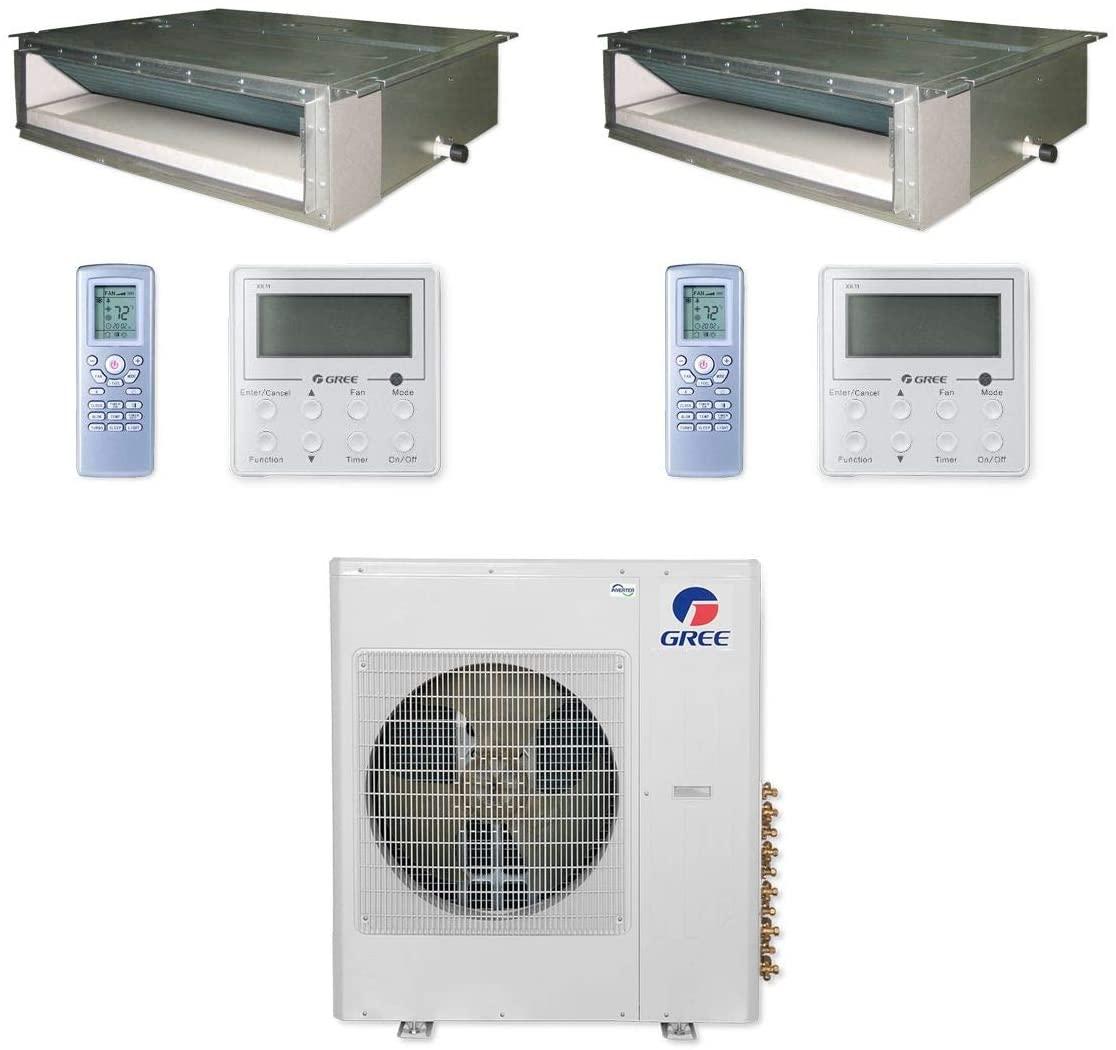 GREE MULTI36CDUCT207-36,000 BTU Multi21+ Dual-Zone Concealed Duct Mini Split Air Conditioner Heat Pump 208-230V (18-18)