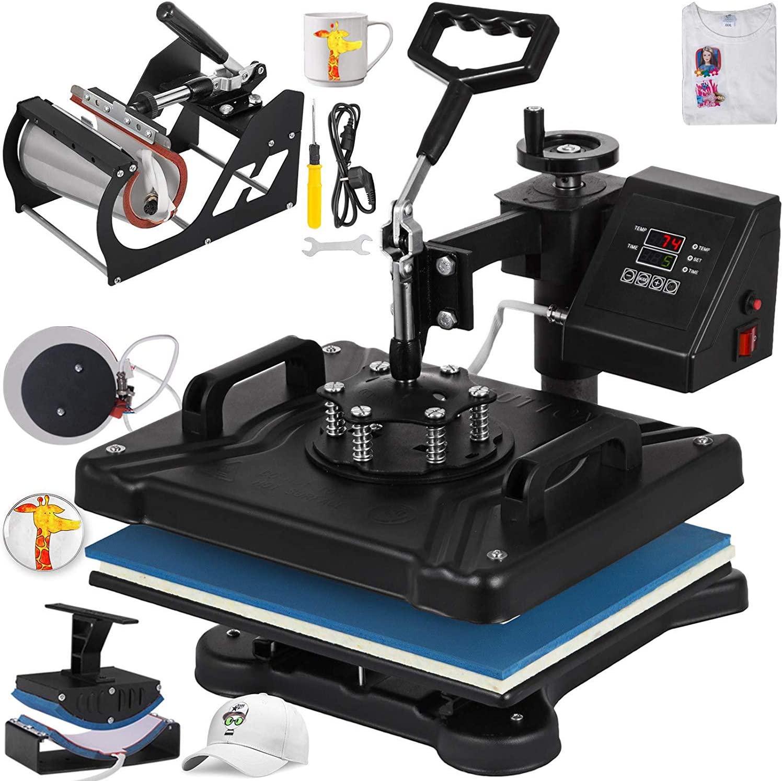 VEVOR Heat Press 12 X 15 Inch Heat Press Machine 5 in 1 Digital Multifunctional Sublimation Heat Press Machine for T Shirts Hat Mug Cap Plate