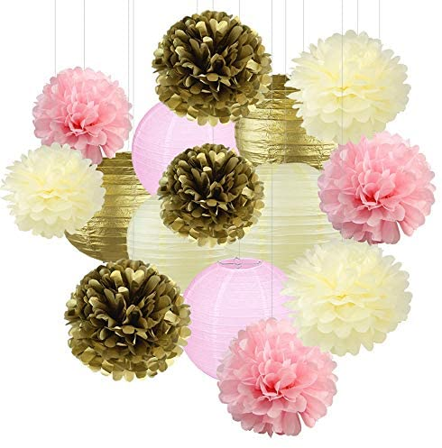 15Pcs Pink and Gold Tissue Paper Flowers Pom Poms Lanterns and Garland for Baby Shower Party Decoration