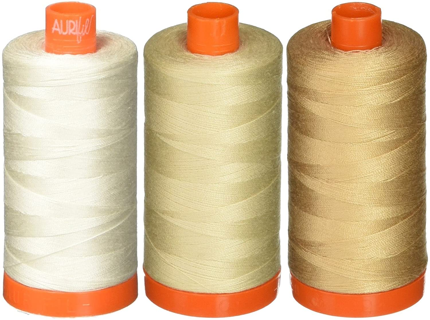 3-Pack - Aurifil 50WT - Muslin + Light Beige + Beige, Solid - Mako Cotton Thread - 1422Yds Each