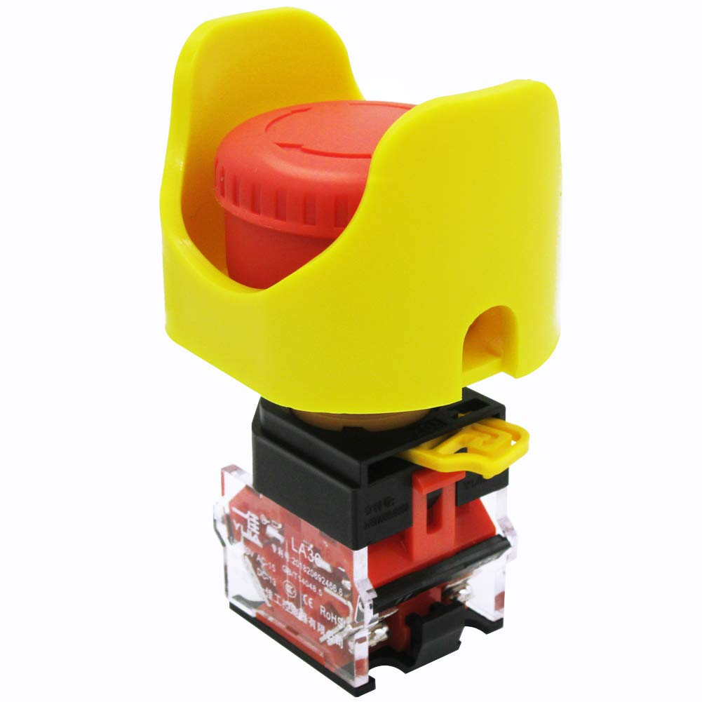 mxuteuk 2 NC 22mm Red Mushroom Emergency Stop Push Button Switch AC 660V 10A + Protective Cover Anti-misoperation,3 Years Warranty LA36-02ZS-XYB