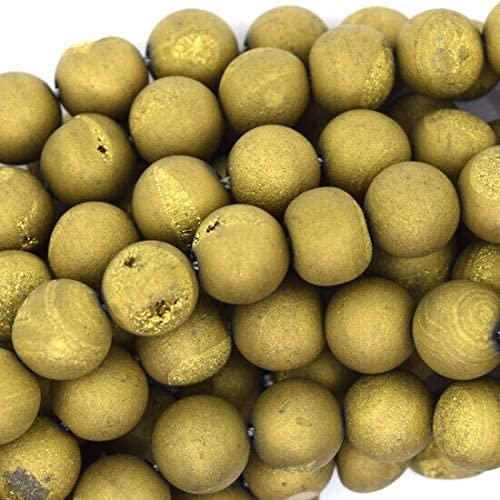 Toyensnow - 8mm Matte Gold Druzy Agate Round Beads Gemstone (28 Beads)