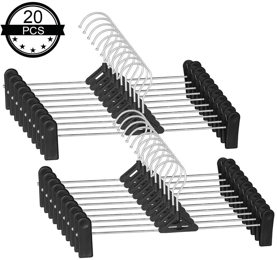 IDMAX Pants Hangers, Adjustable Heavy Duty Hangers with Non-Slip Plastic Clips Clothes Hangers Skirt Coat Suit Metal Hangers Stackable Coat Hangers Clothes Hook Space Saving (20 Pack, Black)