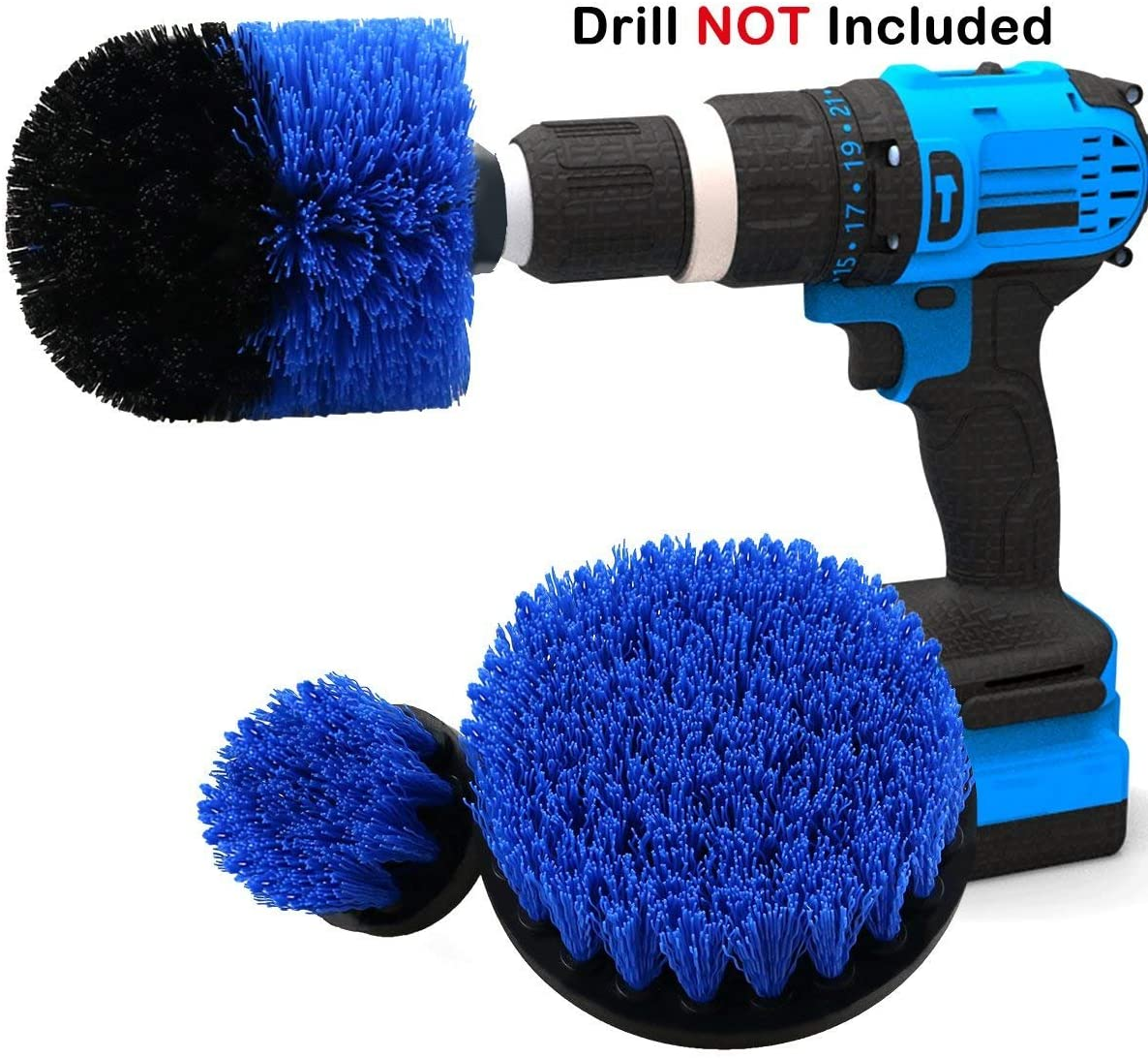 3 Piece Drill Brush Cleaning Tools Power Scrubber Cleaning Kit Attachment Kit for Scrubbing/Cleaning Tile, Bathroom Surfaces Shower Grout, Shower, Bathtub, and all other General Purpose(Blue Set)