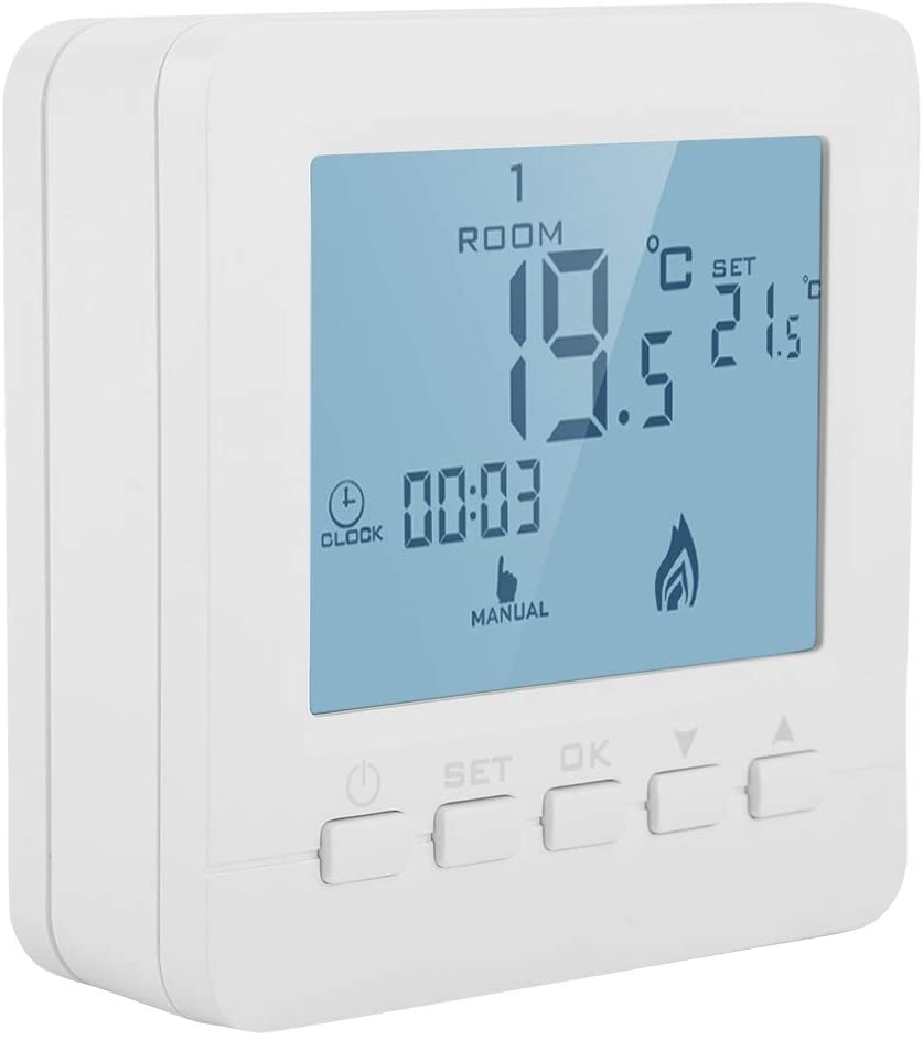 Programmable Thermostat with Large LCD Display. Smart Temperature Controller with Data Memory Function and Lock Protection.