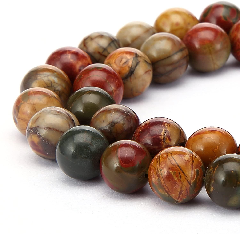 JM Design 6mm Red Creek Jasper Smooth Round 15.5 '' per Strand Gemstone Loose Beads for Jewelry Making