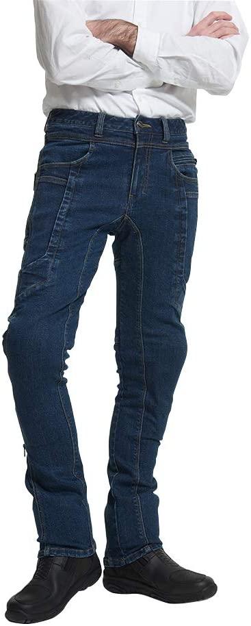 MAXLER JEAN Biker Jeans for men - Slim Straight Fit Motorcycle Riding Pants, 2095 Blue (Size 32)