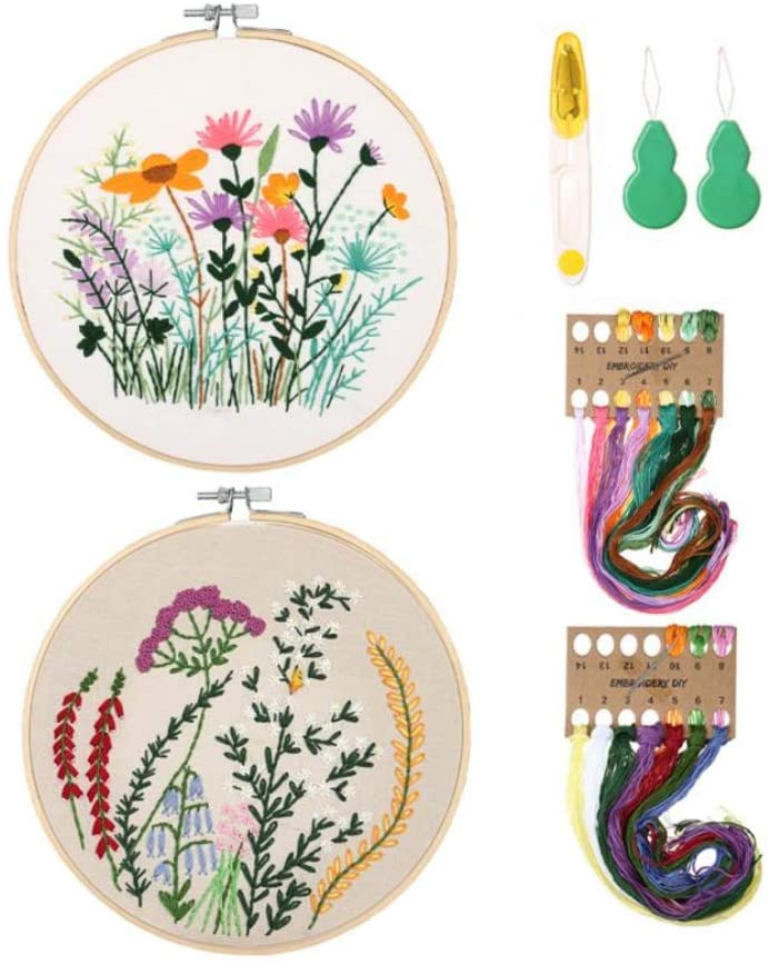 2 Pack Stamped Embroidery Starter Kit,Embroidery Kit Including Embroidery Cloth with Pattern, Bamboo Embroidery Hoops, Color Threads and Tools Kit (2P 01)