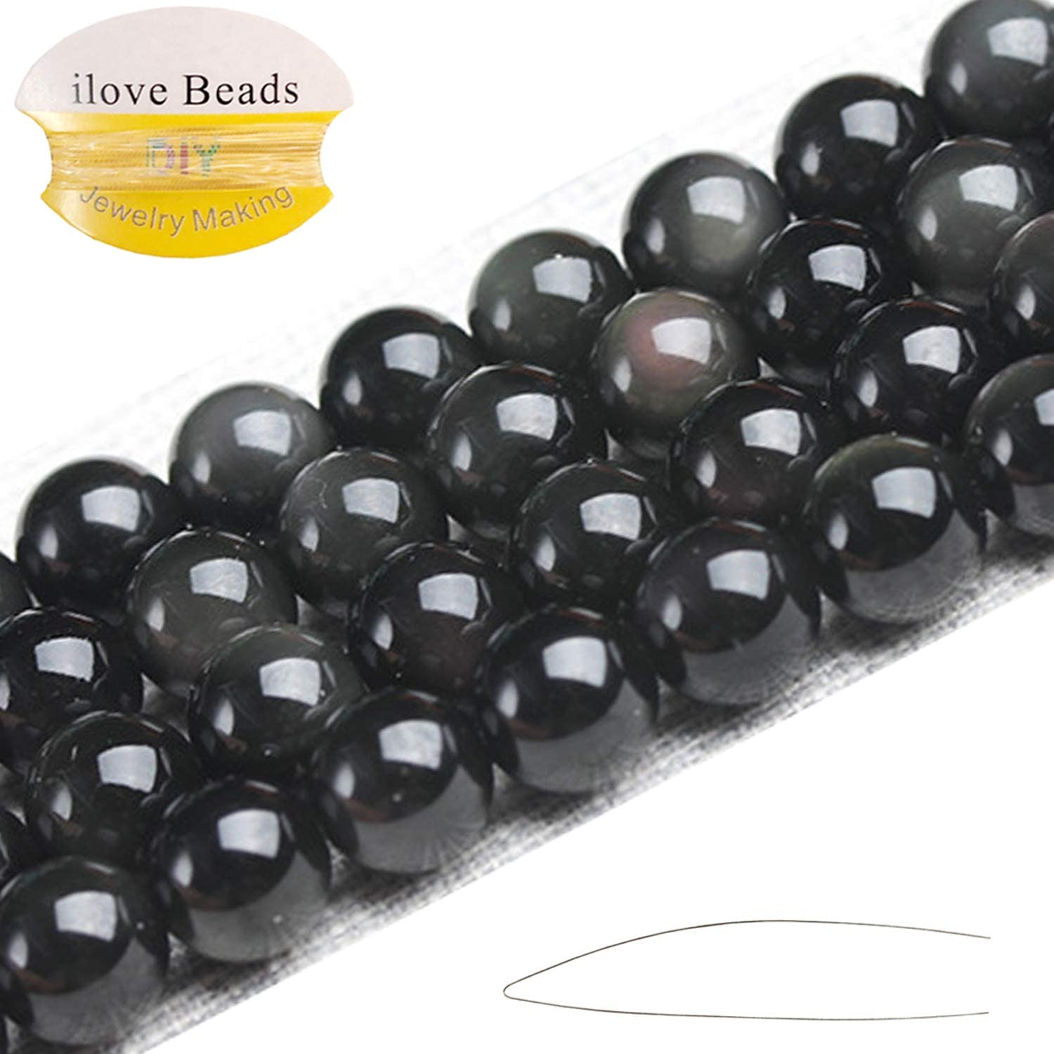 """ILVBD Natural Round Black Obsidian Gemstone Smooth Loose Beads Bulk for Jewelry Making 15"""" (Black Obsidian, 8MM)"""