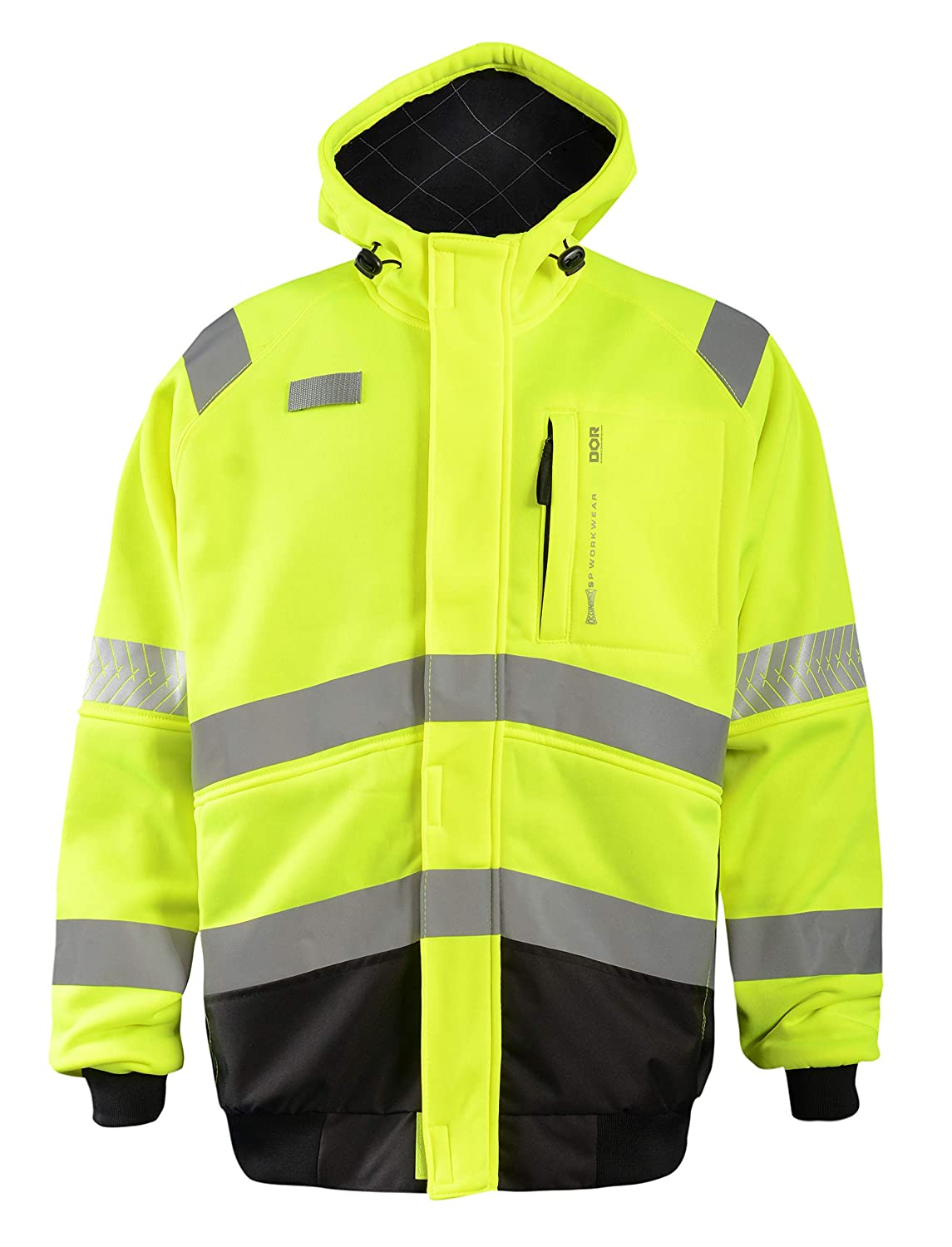 OccuNomix SP-CROSSJKT-Y2X 3 Season Safety Performance Workwear Premium Fleece Crossover Jacket with Quilted Flannel-Lined Hood, EverShield DOR Treated, Class 3, 100% ANSI Polyester, 2X-Large, Yellow