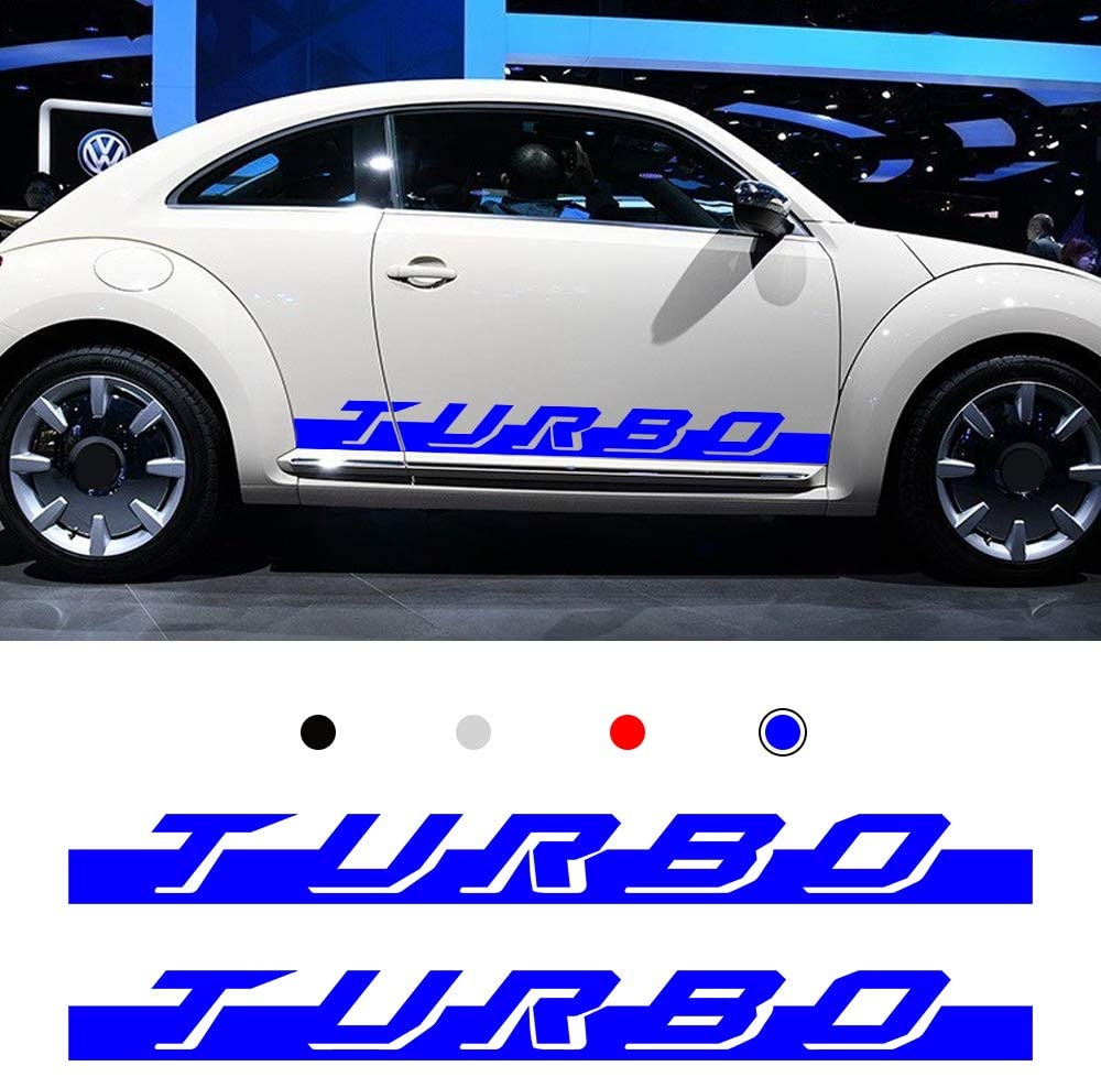 Optional Colour Vinyl Sports Racing Decal Side Stripes Stickers Badge for Volkswagen Beetle Car Body Decorations Accessories Blue 2PCS