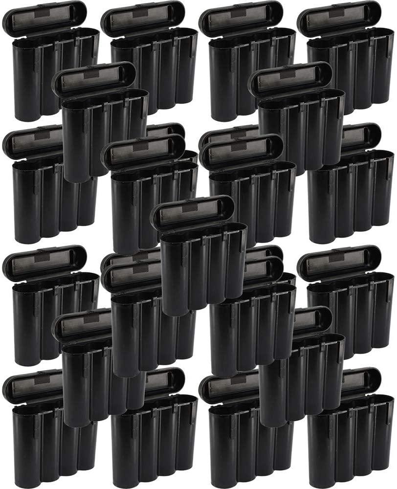 25 Black 18650 & CR123A 4 Battery Holder Storage Case for 18650 Batteries