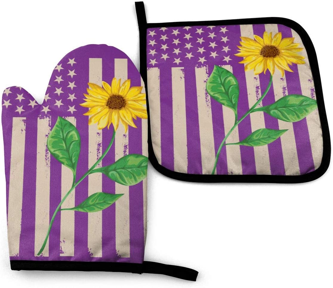 Plant Yellow Sunflower Kitchen Oven Mitts and Pot Holders Sets Heavy Duty Cooking Oven Gloves Protect Your Hands and Wrists from Burns for Microwave BBQ Cooking Baking Grilling