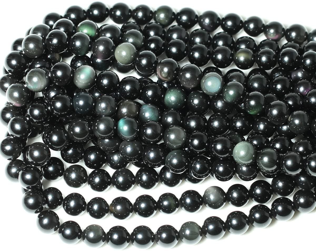 CHEAVIAN 35PCS 10mm Natural Black Obsidian Gemstone Round Loose Beads Crystal Energy Stone Healing Power for DIY Jewelry Making 1 Strand 15